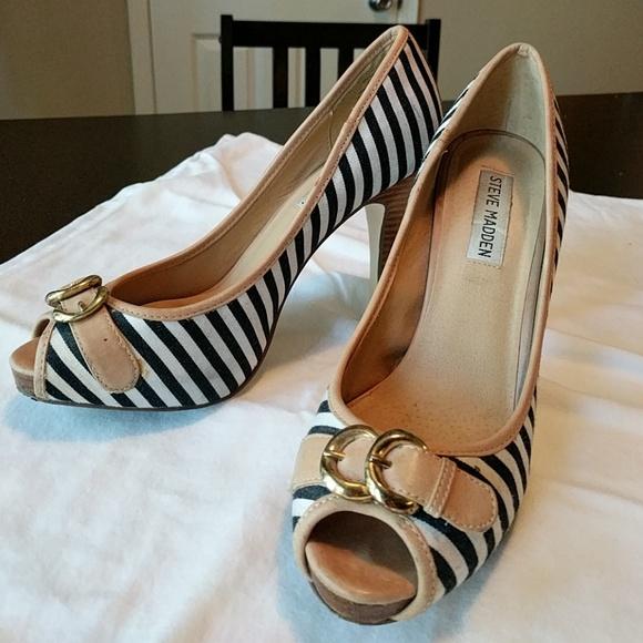 steve madden black and white heels
